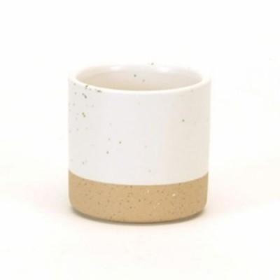Cache-pot céramique blanc picoté